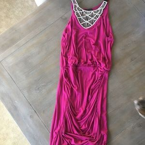 Venus hot pink rouched dress